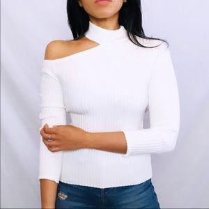 SheIn | White shoulder cut out sweater